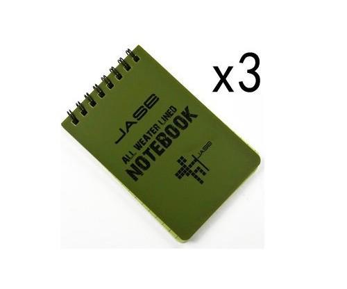 Set of 3 Green Waterproof Notebooks