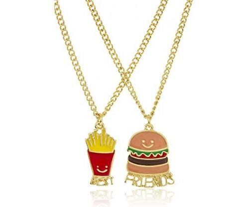 "Goldtone Burger and Fries ""Best Friends"" Necklaces"