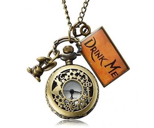 Vintage Drink Me Pocket Watch Necklace