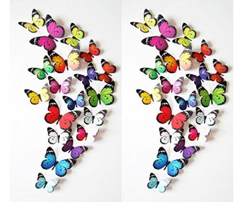Prefer Green 3D Colorful Butterfly Wall Stickers