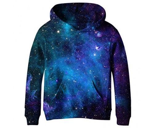 COIKNAVS Teen 3D Print Galaxy Fleece Sweatshirt