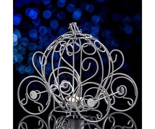 Silver Fairytale Carriage Centerpiece