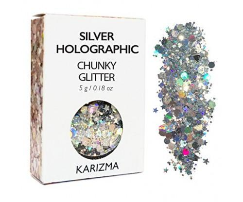 Silver Holographic Chunky Glitter for Body, Hair, Face or Nails