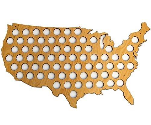 USA Beer Cap Map – Glossy Wood Bottle Cap Holder