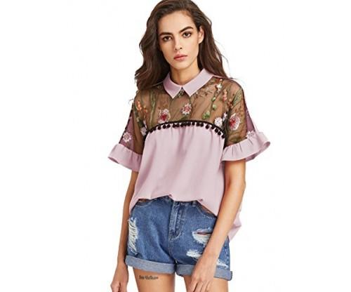 SheIn Women's Cute Embroidered Blouse