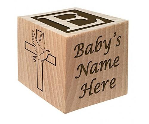 Personalized Baby Block Baptism Gift by Glitzby