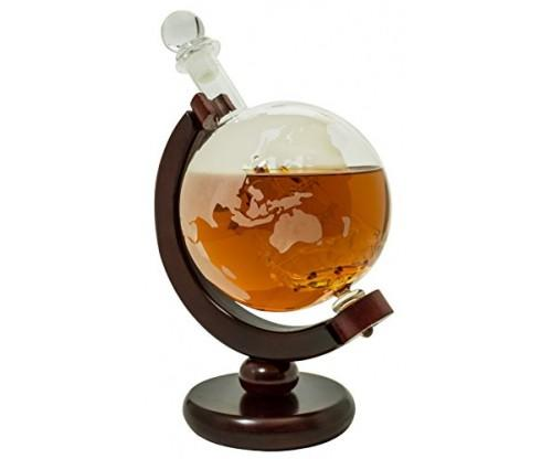 BarMe Whiskey Decanter with Dark Finished Wood Stand