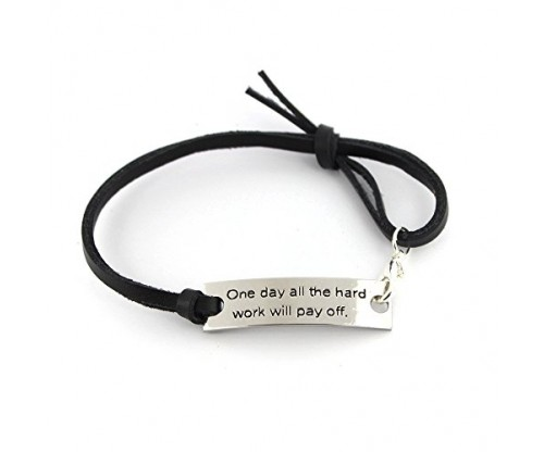 """One day all the hard work will pay off"" Pendant Leather Bracelet"