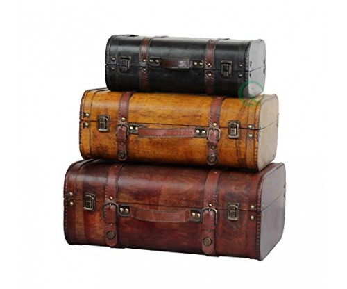 Vintiquewise(TM) 3-Colored Vintage Style Luggage Suitcase