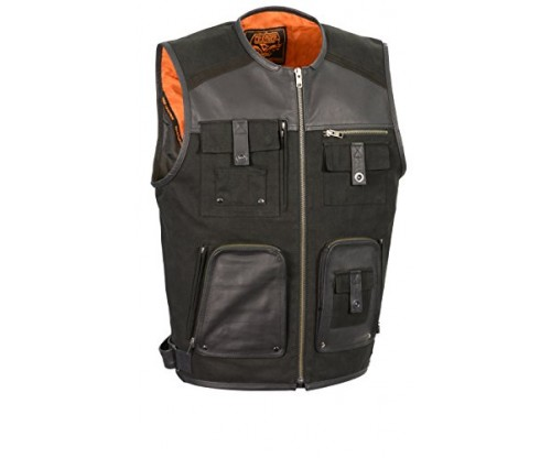 Milwaukee Performance Men's Twill/Leather Combo Fishermen Vest