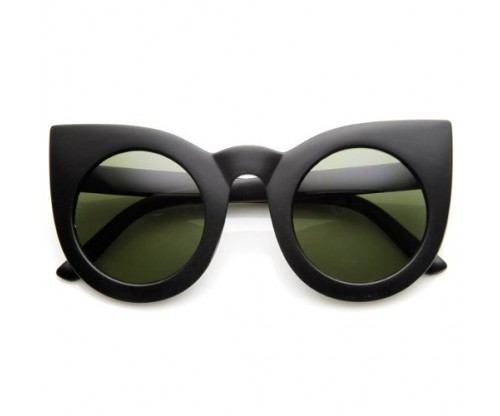 Womens Oversized Bold Rim Round Cateye Sunglasses