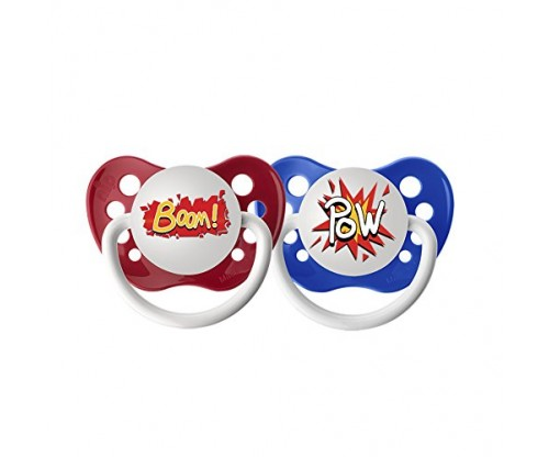 Ulubulu Expression Pacifier Set for Boys, Pow and Boom