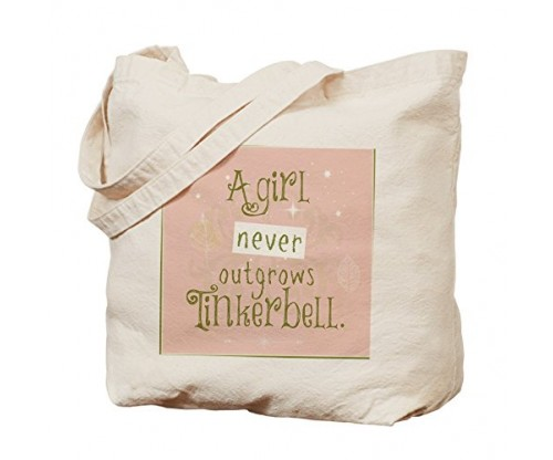 CafePress A Girl Never Outgrows Tinkerbell – Natural Canvas Tote Bag