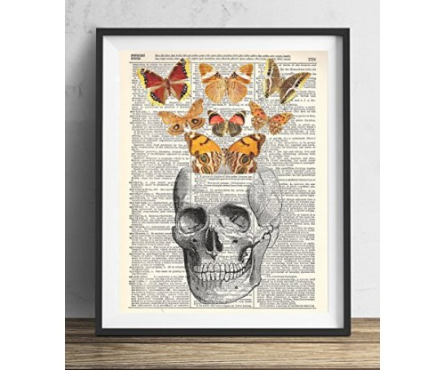 Skull With Butterflies Vintage Dictionary Art Print