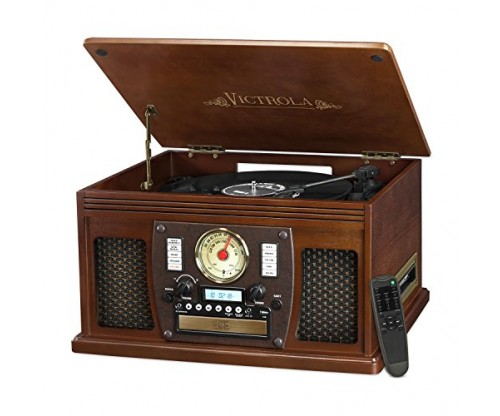 Victrola Nostalgic Aviator Wood 8-in-1 Bluetooth Turntable Entertainment Center