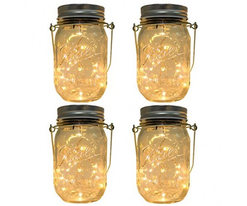 4-Pack Solar-powered Mason Jar Lights