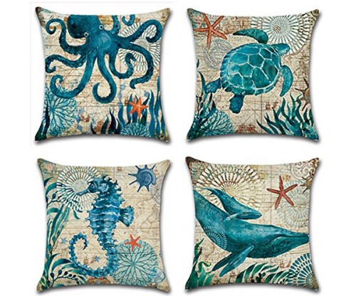 Decorative Ocean Park Theme Linen Throw Pillow Set