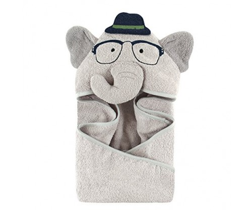 Hudson Baby Animal Face Hooded Towel for Boys
