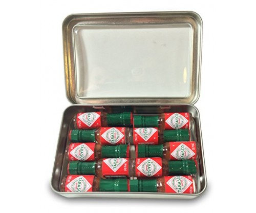 Miniature Tabasco Gift Tin. Ten 1/8 Ounce Mini Bottles