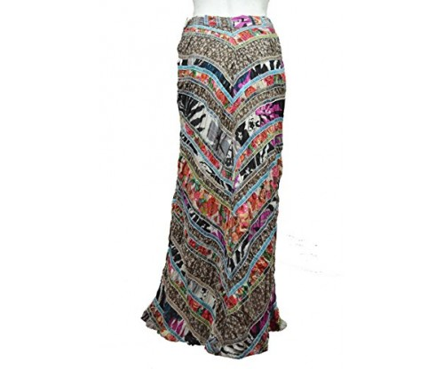 Free People Women's Dark Nature 100% Cotton Long Skirt