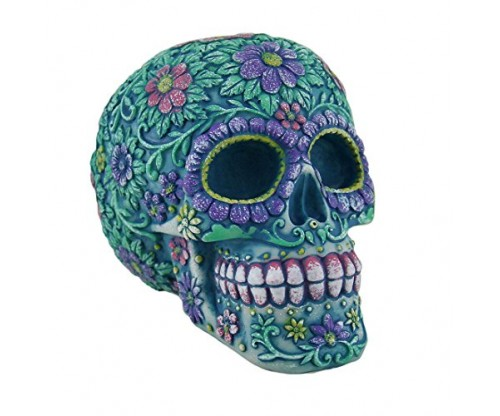 Resin Toy Banks Aqua And Purple Sugar Skull