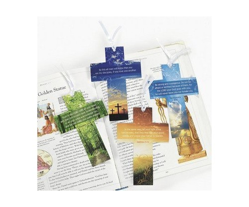 48 Pack Cross Bookmarks W/ Photography and Verse