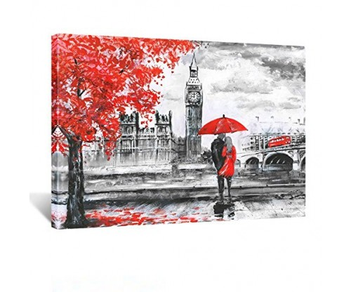 Kreative Arts – Red Umbrella Couple Painting Canvas