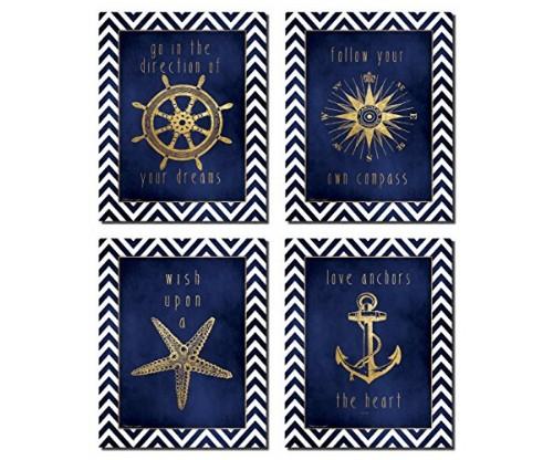 Beautiful Gold and Blue Chevron Inspirational Nautical Prints