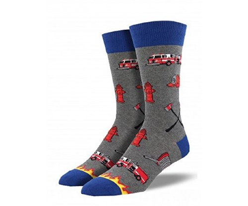 "Socksmith Mens' Novelty Crew Socks ""Firefighter"""