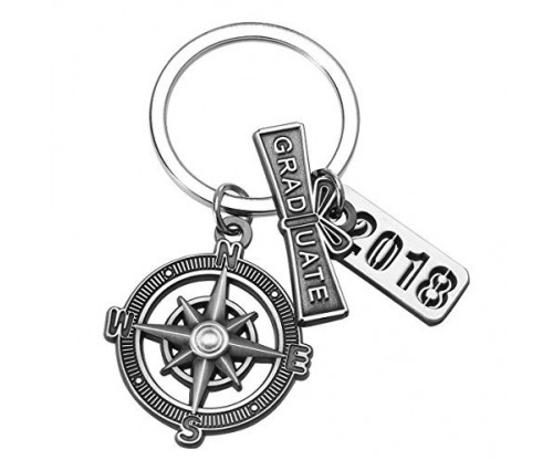 "Graduation Keychain with Scroll, ""2018"" Charm and Compass"