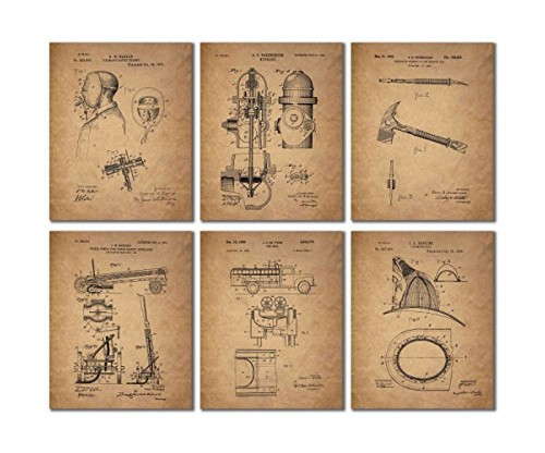 Firemen Patent Wall Art Prints