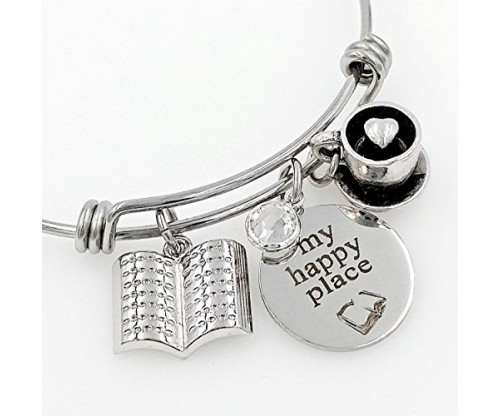 Book Lover Charm Bangle Bracelet