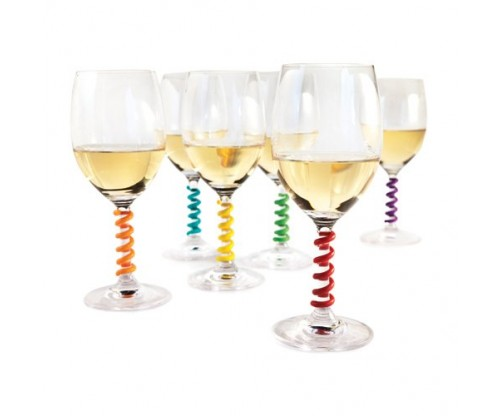 Stem Spring: Set of 6 Multicolored Wine Glass Markers