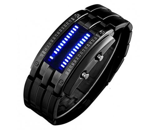 Binary Matrix Blue LED Digital Waterproof Watch