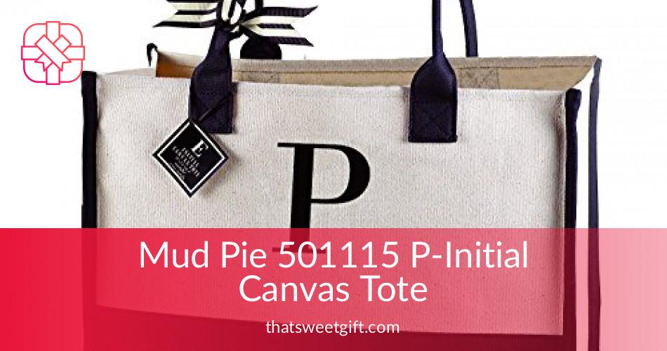 fb28fa7410dd Mud Pie 501115 Initial Canvas Tote